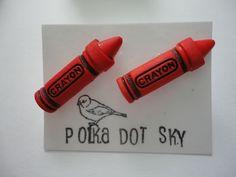 Red Crayon Earrings £3.00