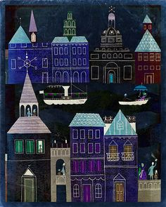 Vintage Fairy Tale Illustration Dark City by missquitecontrary