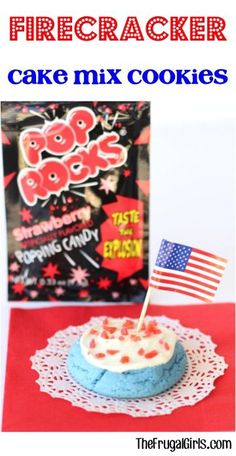 Firecracker Cake Mix Cookies Recipe! ~ from TheFrugalGirls.com ~ add some snap, crackle and serious pop to your 4th of July parties! Such a quick, easy and fun patriotic dessert! #cookie #recipes #thefrugalgirls