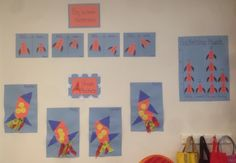 Shape rockets and math display. Young toddlers glued on various shapes to create their own rocket.
