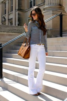 Spring Flare by Chic Street Style / white pants / casual chic Basic Fashion, Modest Fashion, Look Fashion, Fashion Outfits, Womens Fashion, Fashion Trends, Woman Outfits, Casual Outfits, Cute Outfits