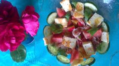 Hallumisallad, gurka och melon Salads, Tacos, Mexican, Ethnic Recipes, Food, Essen, Meals, Yemek, Salad