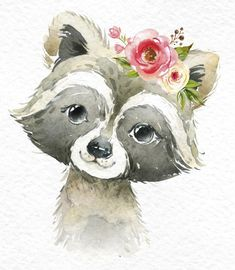 Little Raccoon Wild Pig Owlet. Watercolor Images, Watercolor Animals, Watercolor Paintings, Raccoon Illustration, Cute Illustration, Baby Animal Drawings, Cute Drawings, Wild Animals Drawing, Nature Drawing