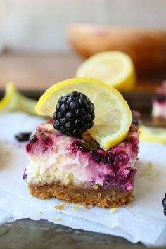Blackberry Lemon Cheesecake Bars from The Food Charlatan // Perfectly easy and perfect for summer!