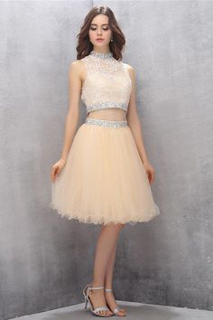 Prom Dresses Two Piece #PromDressesTwoPiece, Short Prom Dresses #ShortPromDresses, High Neck Prom Dresses #HighNeckPromDresses