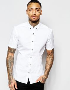 ASOS Skinny Shirt in White Twill with Short Sleeves