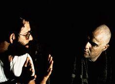 Francis Ford Coppola and Marlon Brando on the set of Apocalypse Now - Amazing at the Cinerama Dome on Sunset. Scene Image, Scene Photo, Apocalypse Now Redux, Robert Duvall, Francis Ford Coppola, War Film, Dangerous Minds, Film School, Marlon Brando