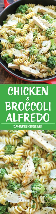 Chicken and Broccoli Alfredo - So easy, so creamy and just so simple to whip up in 30 minutes from start to finish - perfect for those busy weeknights! (easy healthy meals for kids) I Love Food, Good Food, Yummy Food, Cooking Recipes, Healthy Recipes, Healthy Drinks, Simple Food Recipes, Bread Recipes, Easy Broccoli Recipes