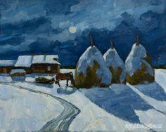 Haystacks in the moonlight Painting Snow, Winter Painting, Snow And Ice, Winter Landscape, Winter Snow, Moonlight, Landscape Paintings, Artwork, Inspiration
