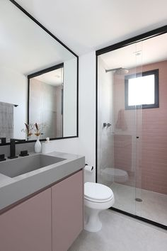 Bathroom: Paint or coat outside the box? See the most suitable solution for ., Bathroom: Paint or coat outside the box? See the most suitable solution for your project. Pink bathroom designed by Studio 92 Arquitetura. Bad Inspiration, Bathroom Inspiration, White Marble Bathrooms, Décor Boho, Shower Remodel, Home Design Plans, Inspired Homes, Bathroom Interior, Bathroom Box