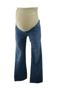 Medium Wash Indigo Blue Maternity Straight Leg Full Panel Maternity Jeans (Like New - Size X-Small) Maternity Jeans, Indigo Blue, Bell Bottom Jeans, Spandex, Skinny, Legs, Medium, Cotton, Pants