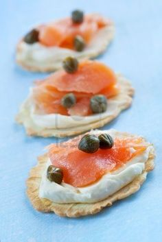 Smoked Salmon Appetisers. Crackers Topped With Cream Cheese,.. Royalty Free Stock Photo, Pictures, Images And Stock Photography. Image 5122698.