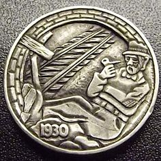 You will enjoy this site! Hobo Nickel, Coin Art, Copper Penny, Great Depression, Art Forms, Sculpture Art, Coins, Carving, Cool Stuff