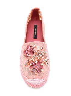 Warm weather shoes that don't require a pedicure. Shop espadrilles for women at Farfetch and find footwear by Kenzo and Gucci. Pretty Shoes, Cute Shoes, Me Too Shoes, Lace Espadrilles, Vetement Fashion, Shoe Wardrobe, Embellished Shoes, Dolce & Gabbana, Pink Shoes