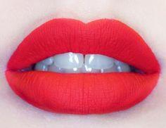 Bright matte red lip