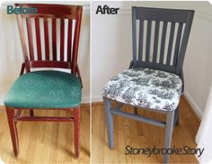 Dining Chairs Before After Green White Black Gray Grey