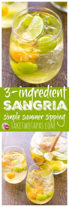 3 Ingredient Sangria for Simple Summer Sipping With Ease Sangria Drink, Alcoholic Cocktails, Easy Cocktails, Summer Cocktails, Cocktail Drinks, Fun Drinks, Summer Sangria, Drink Wine, Party Drinks