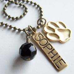 PICK THREE Charm Bead OR Stamped Name Tag plus a Chain by BusyBree, $16.00 Pet jewelry