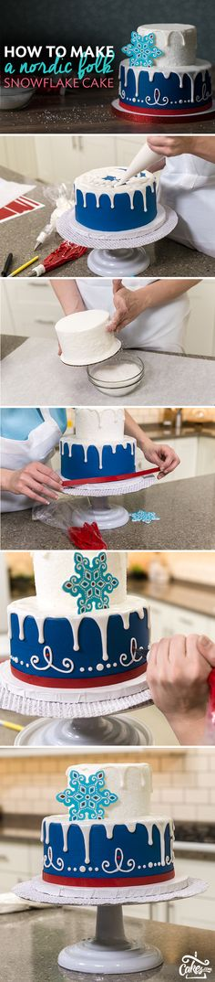 Showcase traditional Nordic folk designs on a 2-tier cake that sparkles like snow. Piping details and the detailed printed Gum Paste snowflake give this cake a unique feel for a winter wonderland party or holiday celebration.