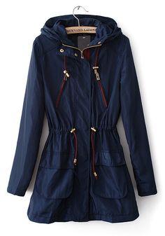 Dark Blue Drawstring Pockets Cotton Blend Trench Coat