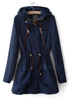 / Dark Blue Drawstring Pockets Cotton Blend Trench Coat