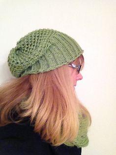 Loom Knit Mock Crochet Slouchy Hat pattern