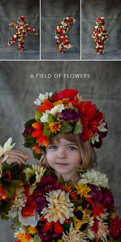 fr Oh Happy Day blog. It's that time of year again to start thinking about Halloween! Cute homemade costume idea for child or adult--a field of flowers.
