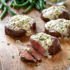Try a steakhouse classic at home. Garlic-rubbed Beef Tenderloin Steaks are topped with creamy blue cheese.