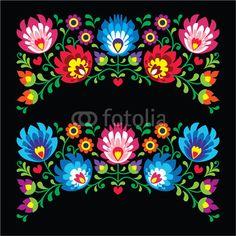 Wektor Polish Floral Folk Embroidery Card On Black