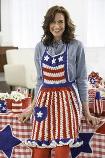 "This apron features cleverly styled stars and stripes in ""proud to be an American"" colors of red, white and blue. It's great for wearing at every patriotic holiday gathering!"