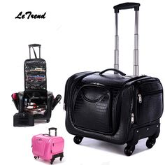 Letrend Crocodile Rolling Luggage Spinner Women Cosmetic Case Multi-function Trolley Carry On Suitcases Wheel Cabin Travel Bag //Price: $134.13 & FREE Shipping //     #hashtag3