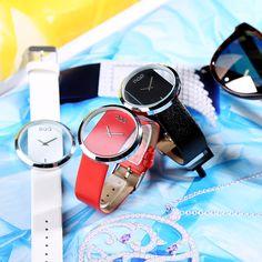 2018 DQG Класичний годинник Круглий кварцовий порожнистий циферблат жіночий  годинник White Balck шкіряний годинник наручний годинник 1acd831bc9468