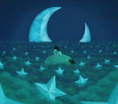 Il·lustracions a la llum de la lluna / Ilustraciones a la luz de la luna / Illustrations in the light of the moon Sun Moon Stars, Sun And Stars, Gypsy Moon, Moon Illustration, Good Night Moon, Moon Magic, Moon Lovers, Beautiful Moon, Star Art
