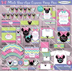 Items similar to Minnie Mouse Party Decorations Minnie Mouse Birthday Decoration Minnie Party Decoration Minnie Birthday Decor, Minnie Mouse Party Package on Etsy Minnie Birthday, Minnie Mouse Birthday Decorations, Minnie Mouse Birthday Invitations, 4th Birthday, Birthday Ideas, Minnie Bow, Mickey Mouse, Paris Party Decorations, Paris Birthday Parties