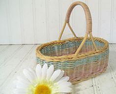 Petite Pastel Wicker TriColor Basket  Vintage Hand by DivineOrders, $9.00