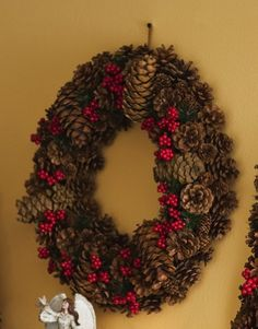 Rustic Northwoods Pinecone Holiday Wreath - 20 By Collections Etc $14.97