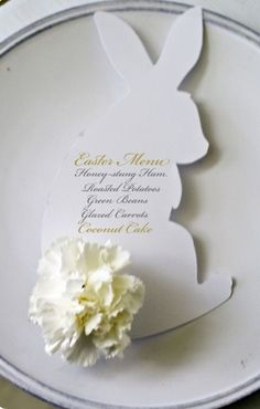 """Hoppy Easter"" cute bunny table setting menu or place card -- carnation tail:-)"