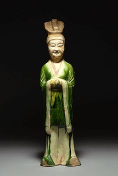 Ancient Chinese Tang Dynasty Sancai glazed pottery Figure of an official