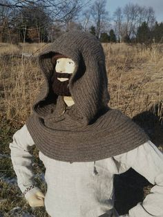Needlebound / nalbound cowl made using a Finnish stitch, by Matt Stahl. Took about 5 months to make! Posted [in English] 2016-01-05 in Nålbinding group @ Facebook. Please see link for original post, that also includes a photo of the cowl when laid out flat on the side!