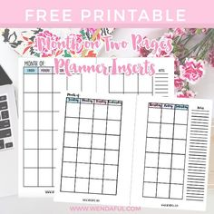 Free Undated Month on Two Pages Planner Inserts. Great because you can use it for any year!