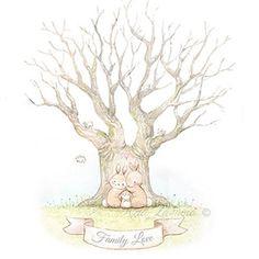Ilustración infantil conejos en árbol