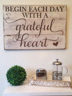 """Rustic Engraved Wood Sign - 23"""" x 16"""" - Begin Each Day with a Grateful Heart - White: Paintings"""