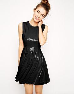ASOS Mesh And Sequin Skater Dress