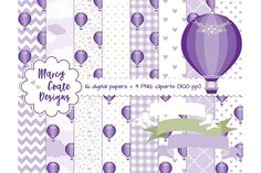 Purple Hot Air Balloons by MarcyCoateDesigns on @creativemarket