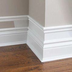 "Love this idea from Little River Cottage which shows how to ""cheat"" at creating dramatic baseboard or ceiling mouldings."