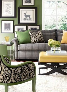 28 Comfortable living room color schemes and paint color ideas - living room furniture color combinations Modern Living Room Colors, Grey Walls Living Room, Classic Living Room, Living Room Color Schemes, Living Room Green, Paint Colors For Living Room, My Living Room, Living Room Furniture, Living Room Designs