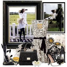 Bringing in Spring in Black and White by littlesheri on Polyvore