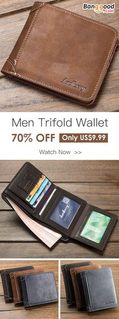 70%OFF&Free shipping. Men Vintage Short Multi-Card Slots Trifold Wallet, Trend All-Match, the best wallet you wanted, shop now~