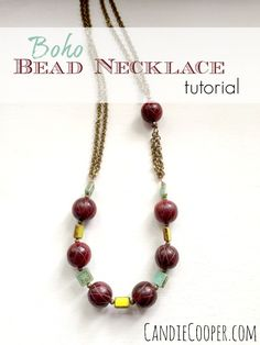 DIY Jewelry Making: Boho Bead and Chain Necklace tutorial.