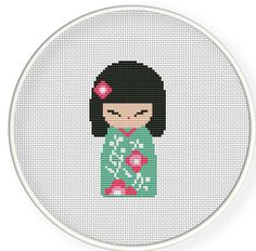 Buy 4 get 1 free ,Buy 6 get 2 free,Cross stitch pattern, Cross-StitchPDF,Cute geisha doll ,ZXXC0212. $4.00, via Etsy.
